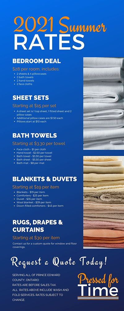 Pressed for Time Laundry Services 2021 Summer Rates